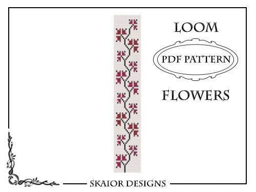 Loom Bead Pattern Flower Bracelet Square Stitch Pattern #