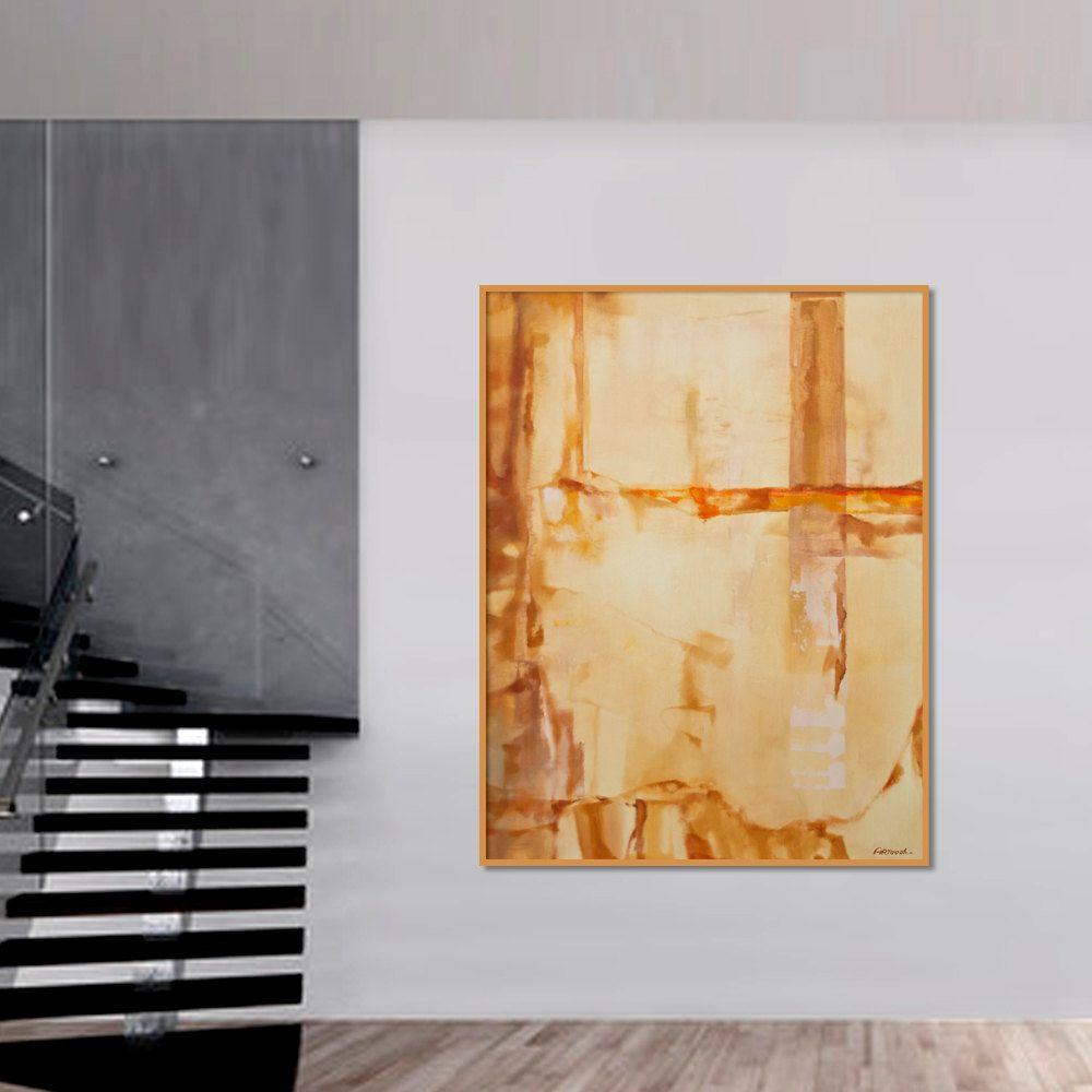 Peinture Abstraite Beige Gris Jaune Brun Peinture Originale