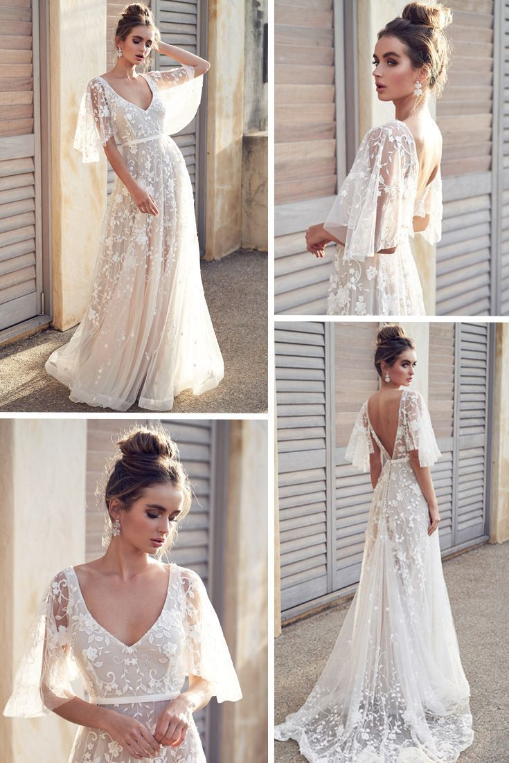 Romantic wedding dress idea - deep wedding dress with V-back, lace details and - fashion beauty