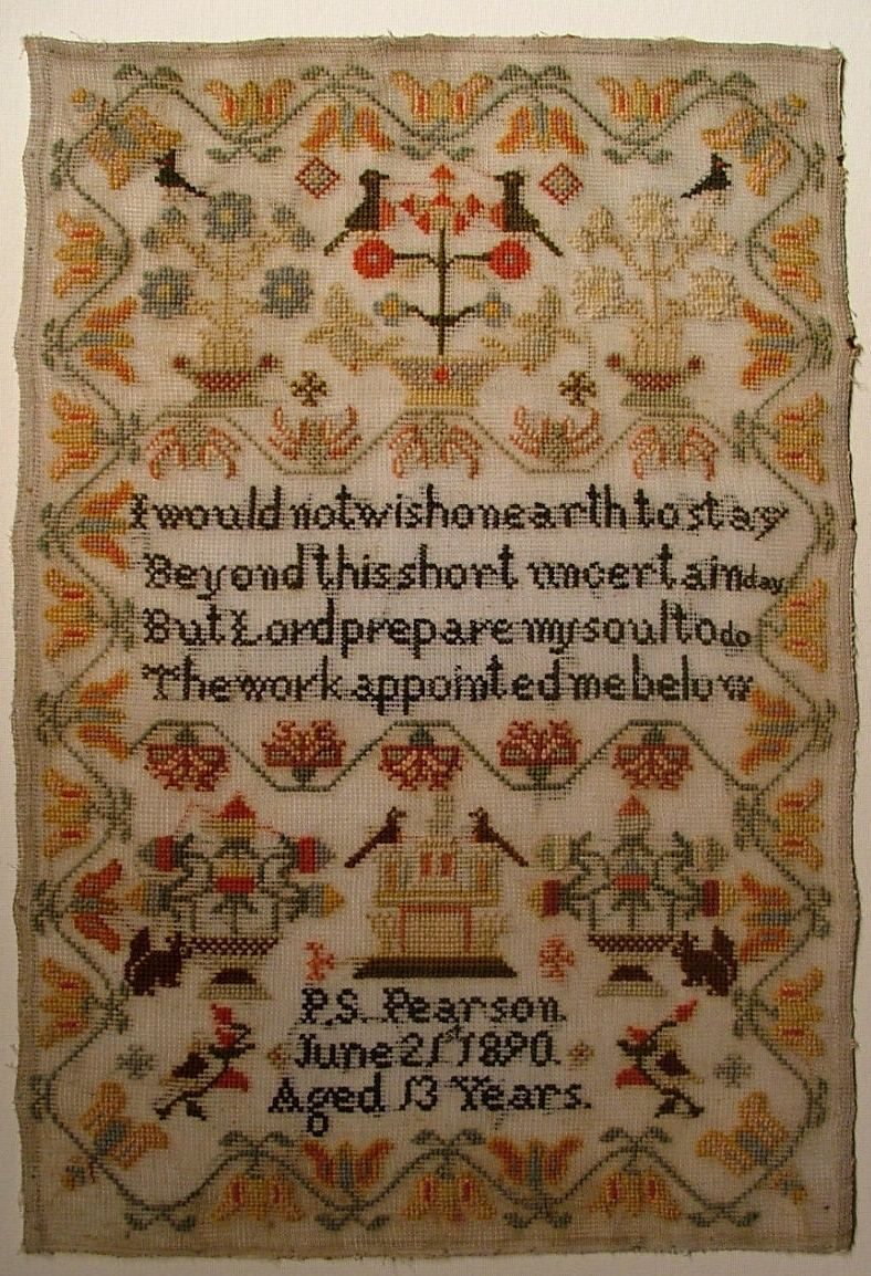 Th century woolwork sampler by p s pearson ebay samplers