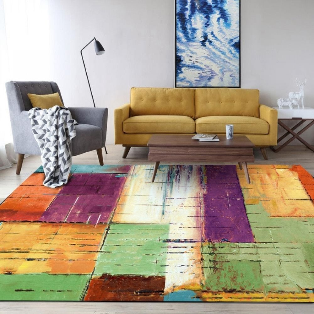 Watercolor Colorful Geometric Bedside Area Rugs Living Room Floor Mat Coffee Table Sofa Bedroom Blanket Large Rugs And Carpets