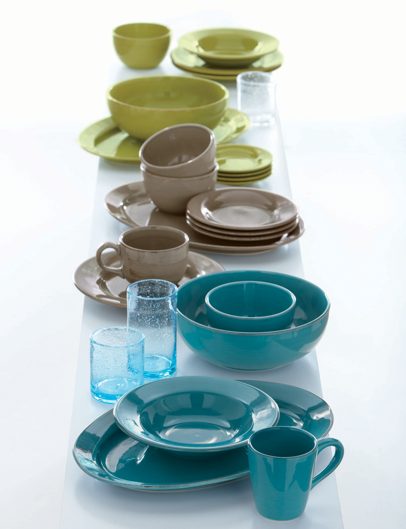 classic tag: sonoma tableware and bubble glass tumblers in bright ...