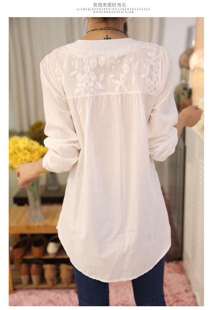 Blusas 2016 moda mulheres branco bordado Plus Size blusa de renda feminina  de algodão solto camisa b76570e88e0