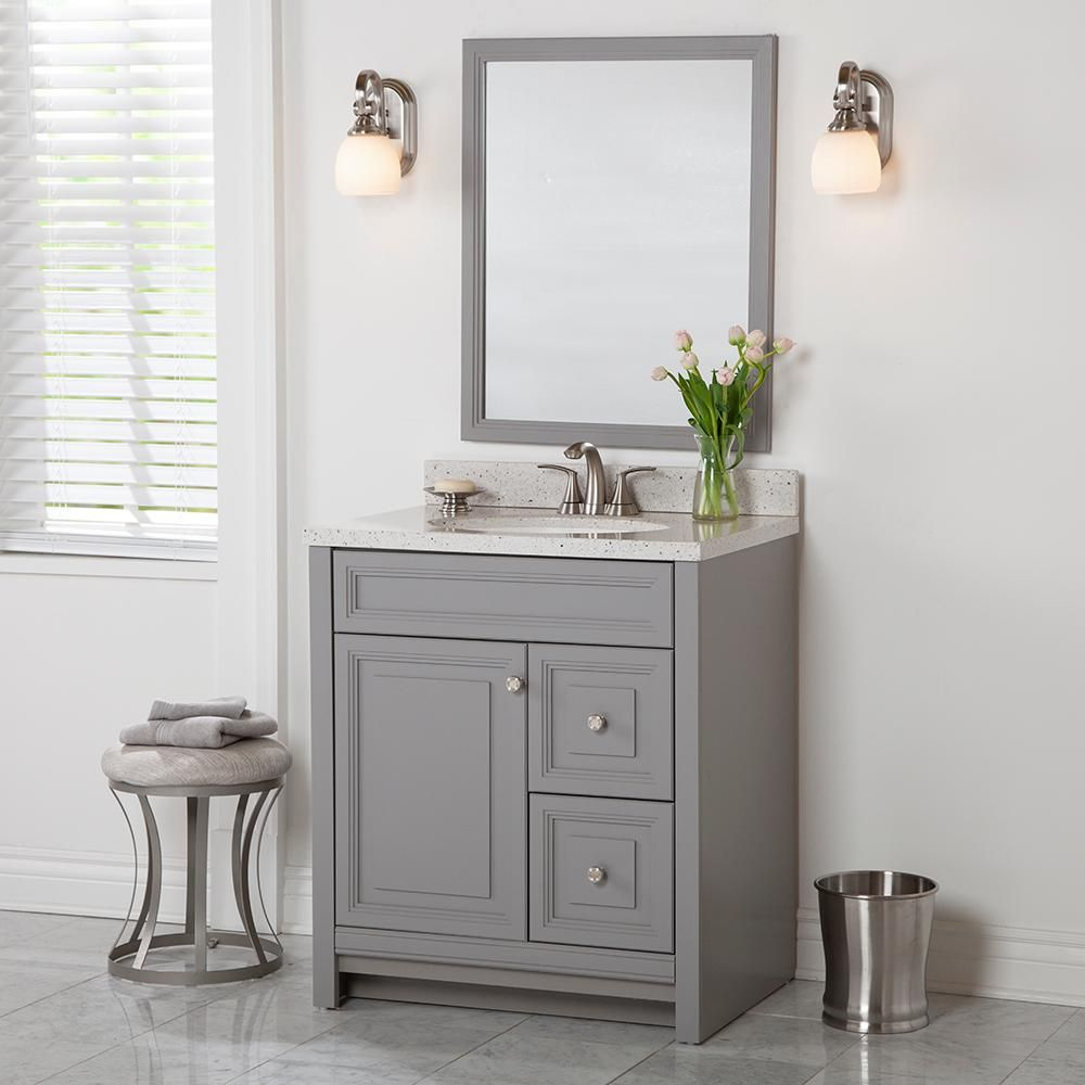 Home Decorators Collection Brinkhill 30 In W X 21 65 In D X 34 In H Bath Vanity Cabinet Only In Sterling Gray Bh30 St The Home Depot Sterling Grey White Sink Solid