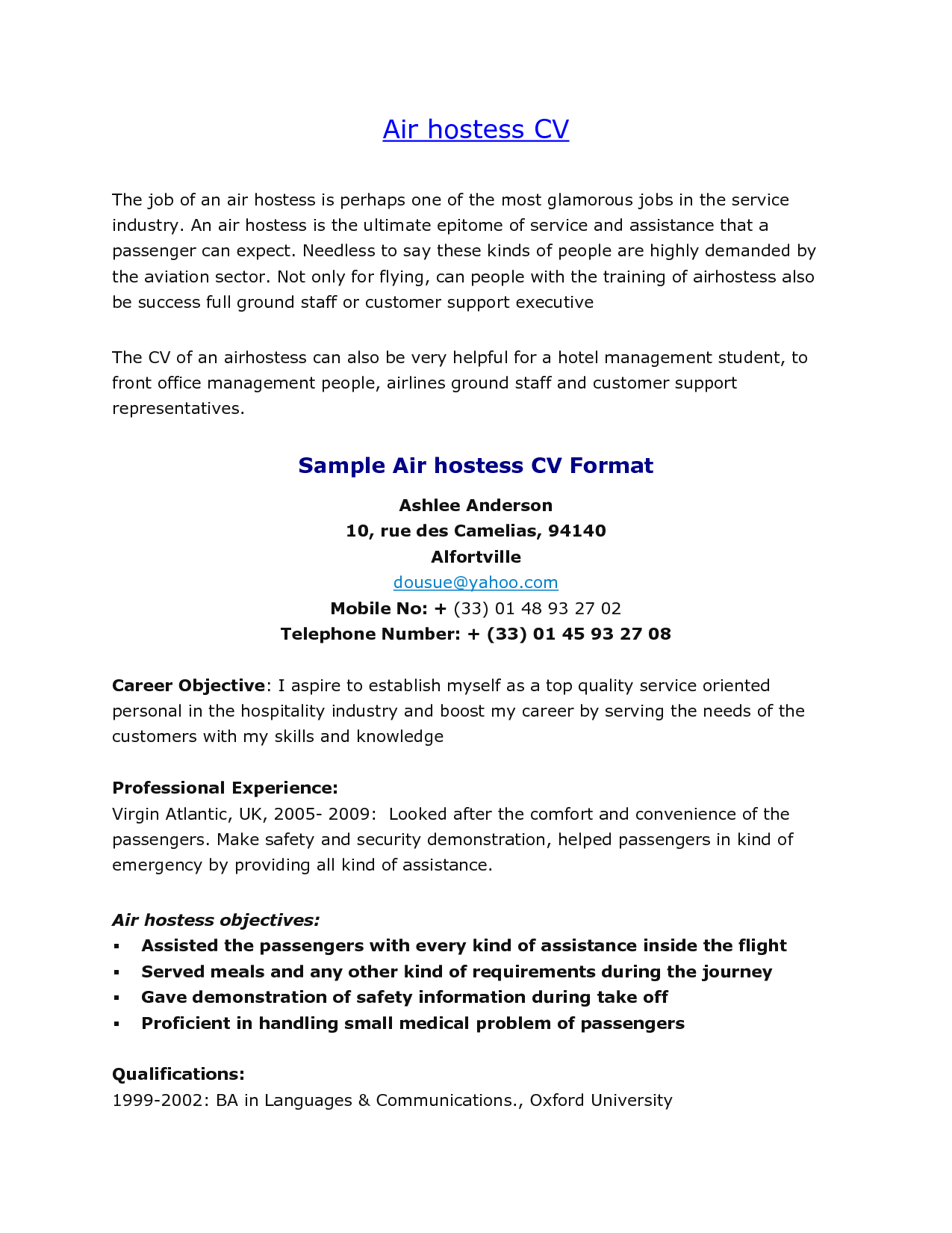 resume examples aviation industry