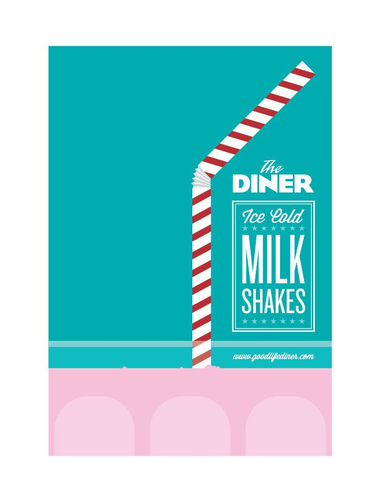 The Diner Ice Cold Milk Shake Sales Flyer Example - Venngage Poster