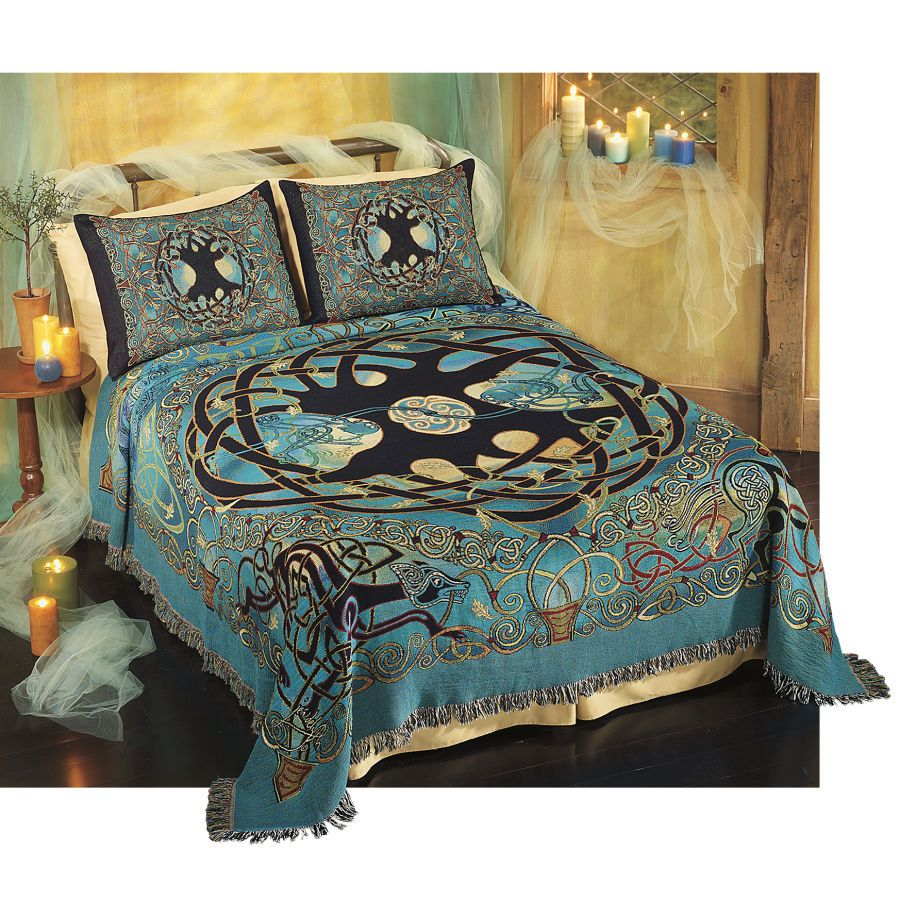 New Pyramid Collection Eternity Tree Celtic Bedspread / Bed Set  MM96