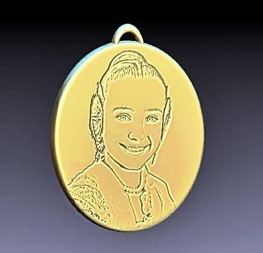 3f3f35109e13 Diseño 3D medalla personalizada con retrato de la Fallera Mayor Infantil  2018. Joyas personalizadas en
