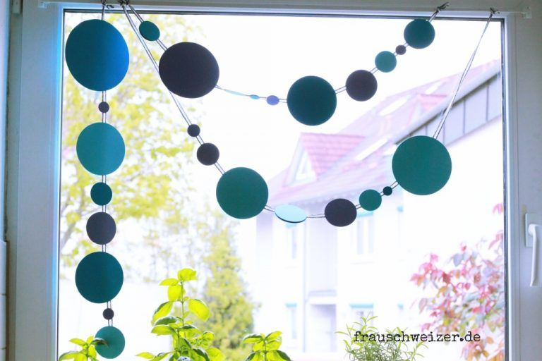 Anleitung Fensterbild Blaue Girlande in 2020 Girlande