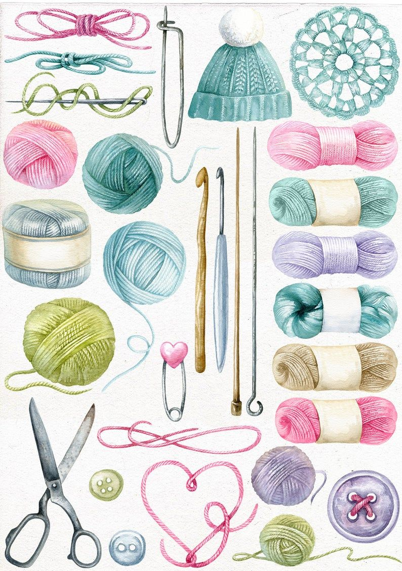 Watercolor Knitting Clipart Hand Painted Individual Png Hand Made Clip Art Crochet Sewing Essentials Yarn Needlework In 2020 Sewing Essentials Sewing Art Sewing Clipart