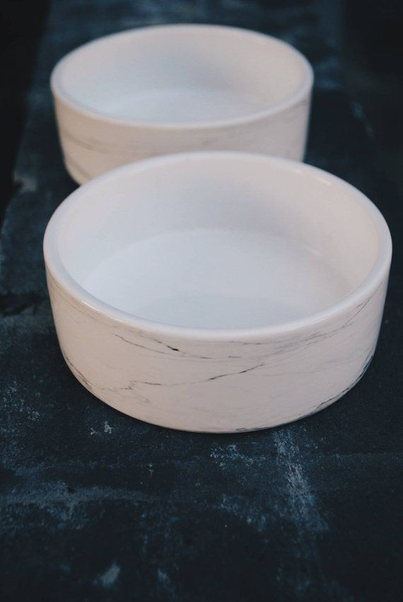 Ceramic Dog Bowl Set In White Marble Food And Water Dish For