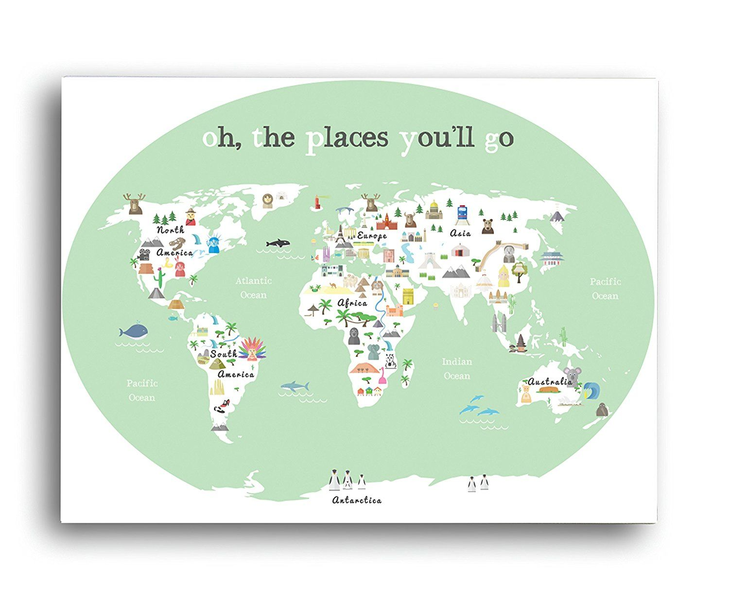 World map wall art oh the place youll go travel map world map printable kids pink world map poster in in in nursery poster educational poster gumiabroncs Gallery