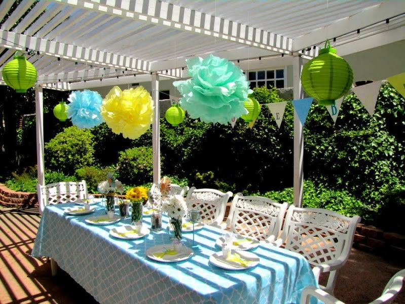 Garden Baby Shower Ideas french bistro baby shower Lime Blue Yellow Garden Baby Shower Karas Party Ideas The Place For