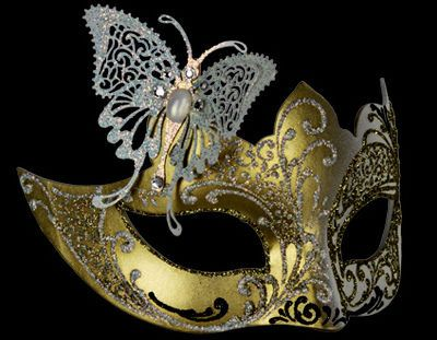 Deluxe Butterfly Venetian Masquerade Mask - White