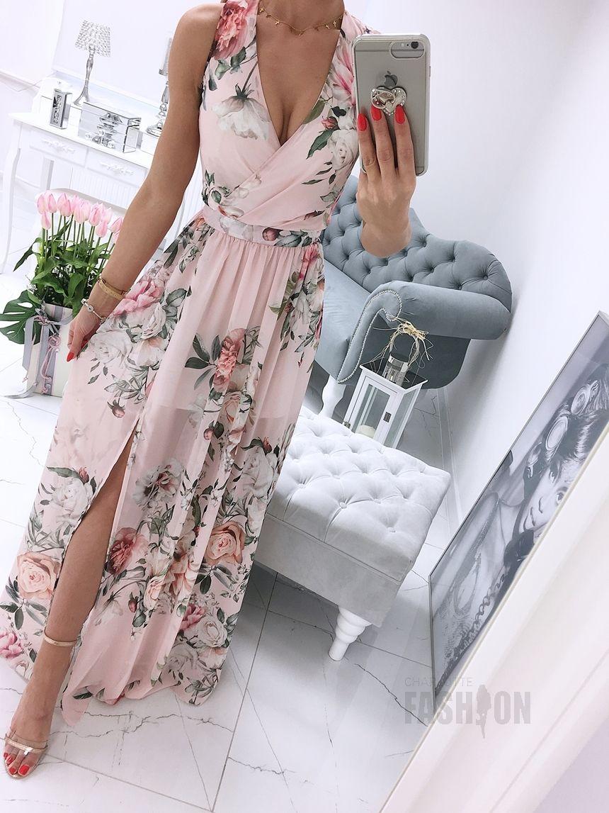 Dluga Suknia Na Ramiaczkach Z Rozcieciem Wzor Kwiatowy Pudrowy A985 Pudrowy Wzor Kwiatowy Nowosci Bestsellery Odziez S Dresses Pretty Dresses Long Dress