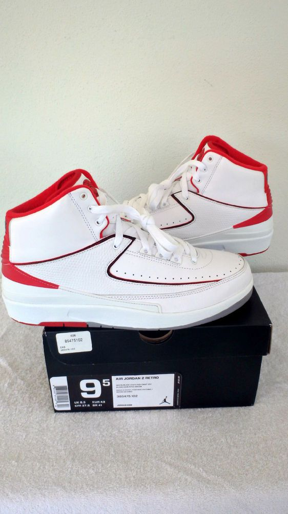 a6b4aafe3191  385475-102  NIKE AIR JORDAN 2 RETRO II MENS SHOES SZ 9.5 WHITE RED BLK  GREY  JORDAN  BasketballShoes