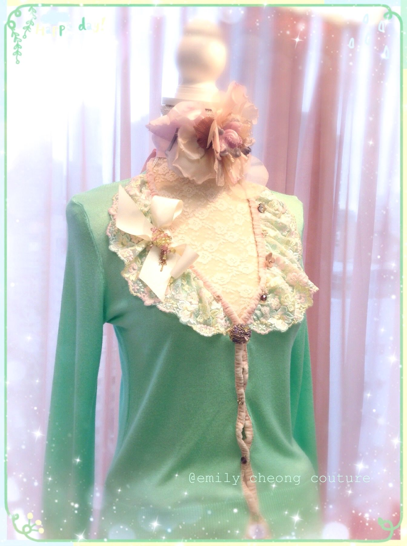 Fairytale Collection - green mint melon spring top  leather designer couture  lace frenchlace chic classy fashion womenswear ladieswear vintage high-fashion fashion cardigan https://www.facebook.com/emilycheongcouture