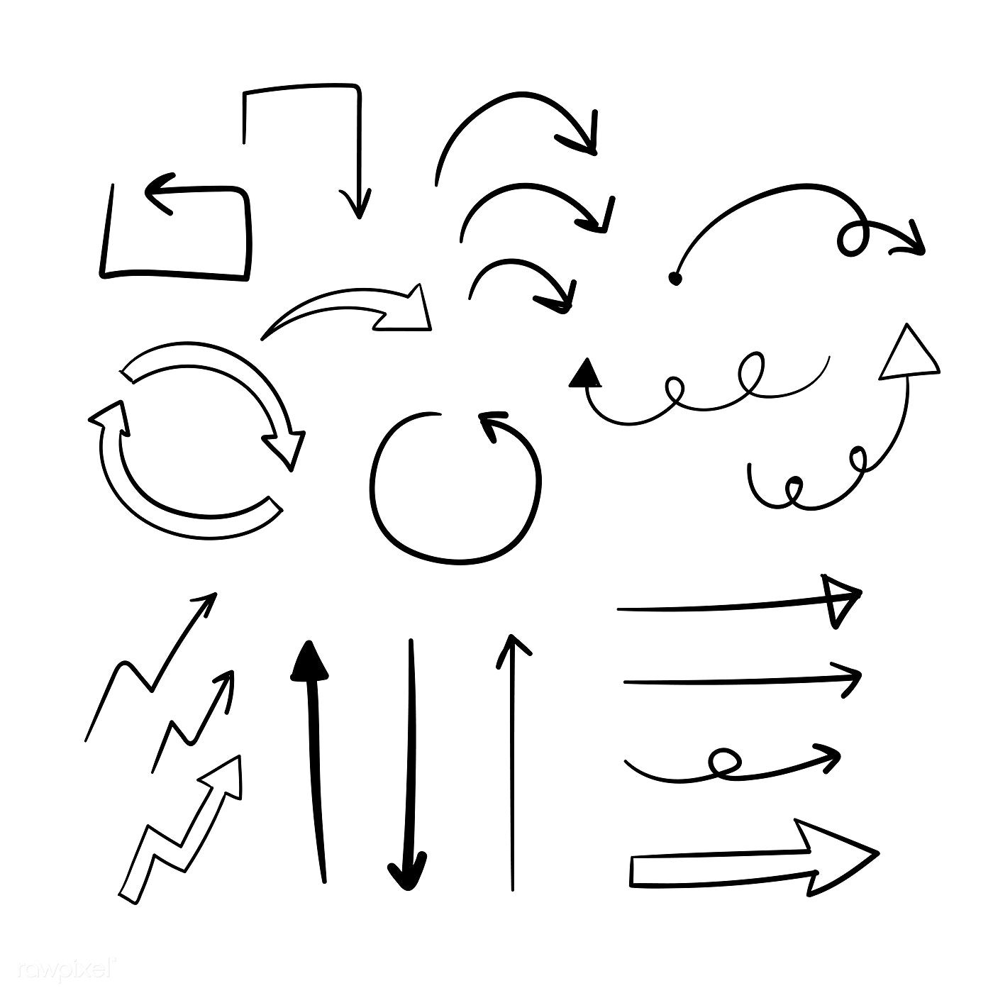 Hand Drawn Doodle Arrows Vector Set Free Image By Rawpixel Com Filmful Mapas Mentais Mapa