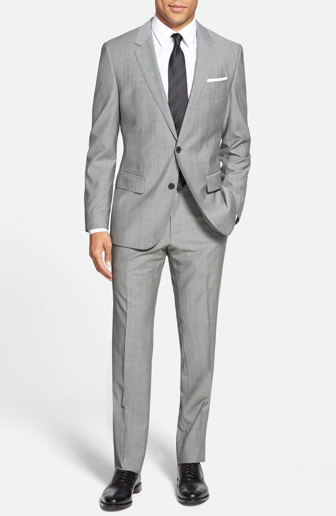 bc112582 Boys colors...grey suit, black tie (maybe brown shoes?) | Men's in ...