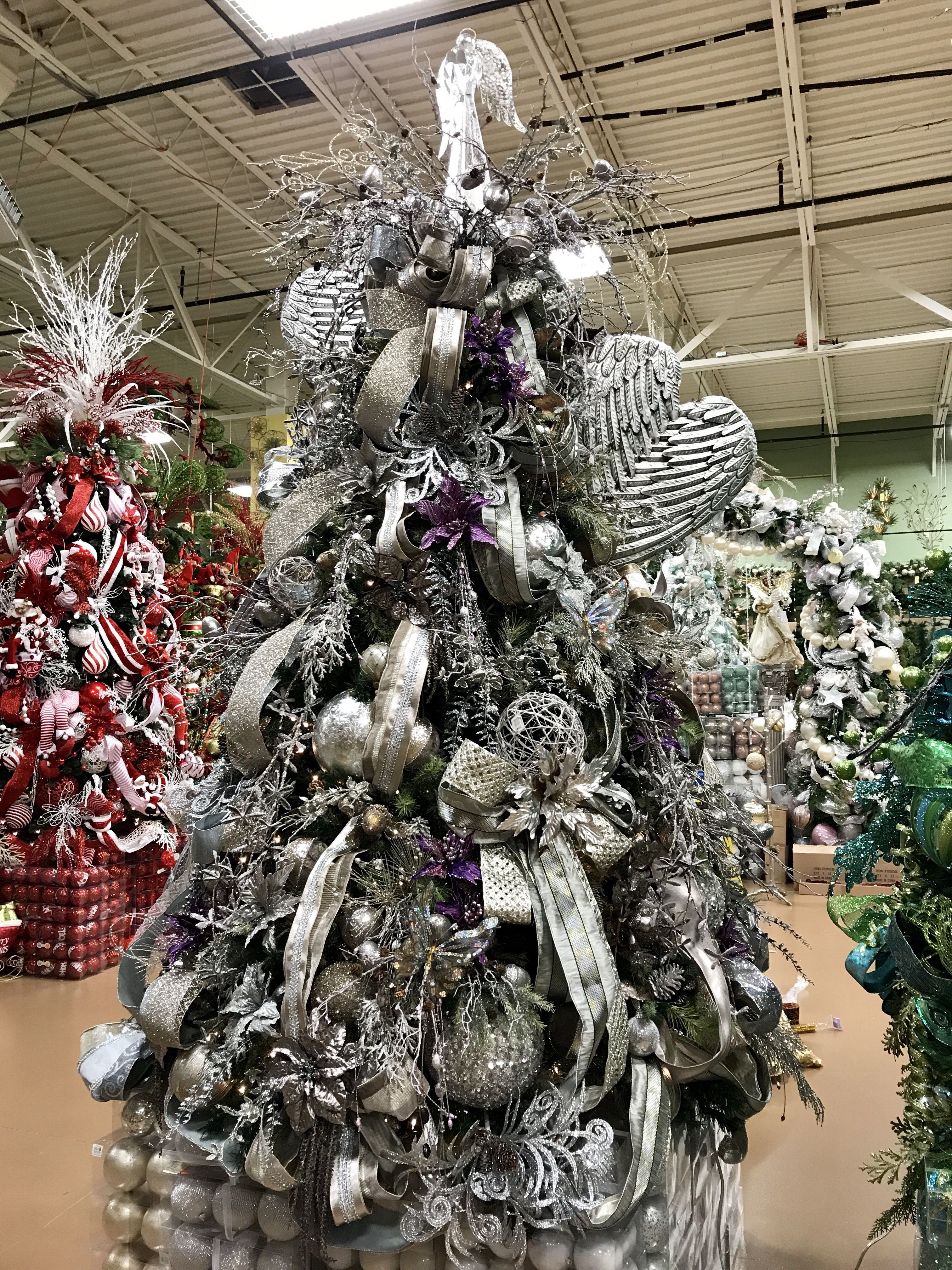 Pewter Silver And Purple Christmas Tree Designed By Arcadia Floral And Home Decor Christmas Tree Decorations Purple Christmas Tree Xmas Decorations