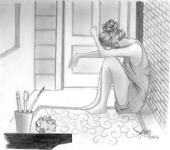 Inspiring image crying girl lonely girl pencil sketch sad girl girl drawing by anjotjots resolution find the image to your taste