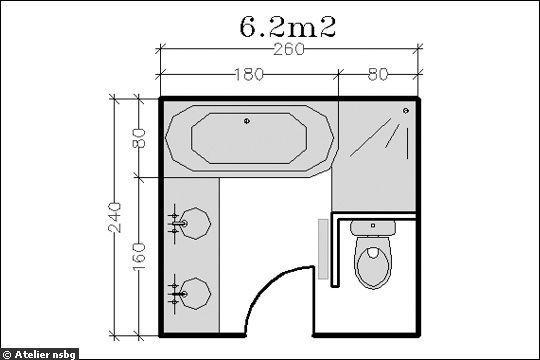 Le plan d\u0027une salle de bains de 6,2m² avec wc séparé ou presque