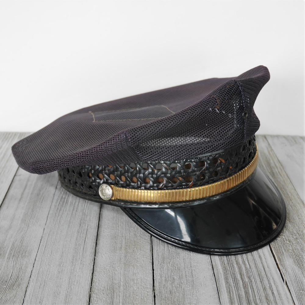 Vintage Police Officer Hat Midway Cap Company Mesh 8 Point Had With Caned Border And Gold Band Large Size 7 5 8 Police Officer Hat Hats Vintage Hats