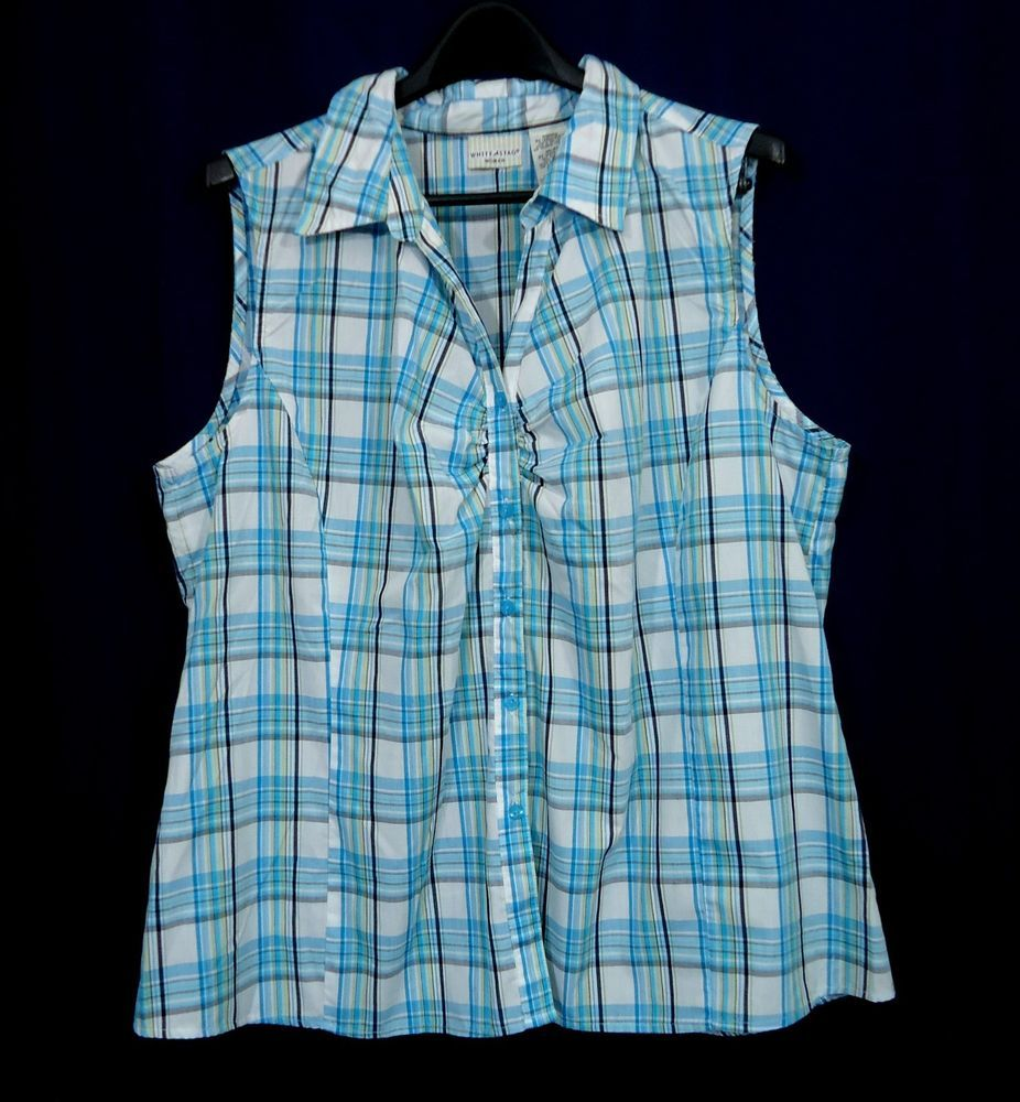 Womens Plus WHITE STAG Plaid Button Front Ruched Sleeveless Top, Size 3X 22W-24W #WhiteStag #Blouse #Casual