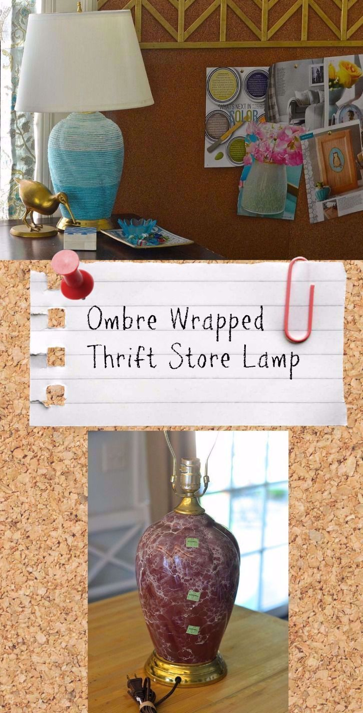 Ombre wrapped thriftstore lamp ,  #hippiehomedecorthriftstores #lamp #Ombre #thriftstore #Wrapped