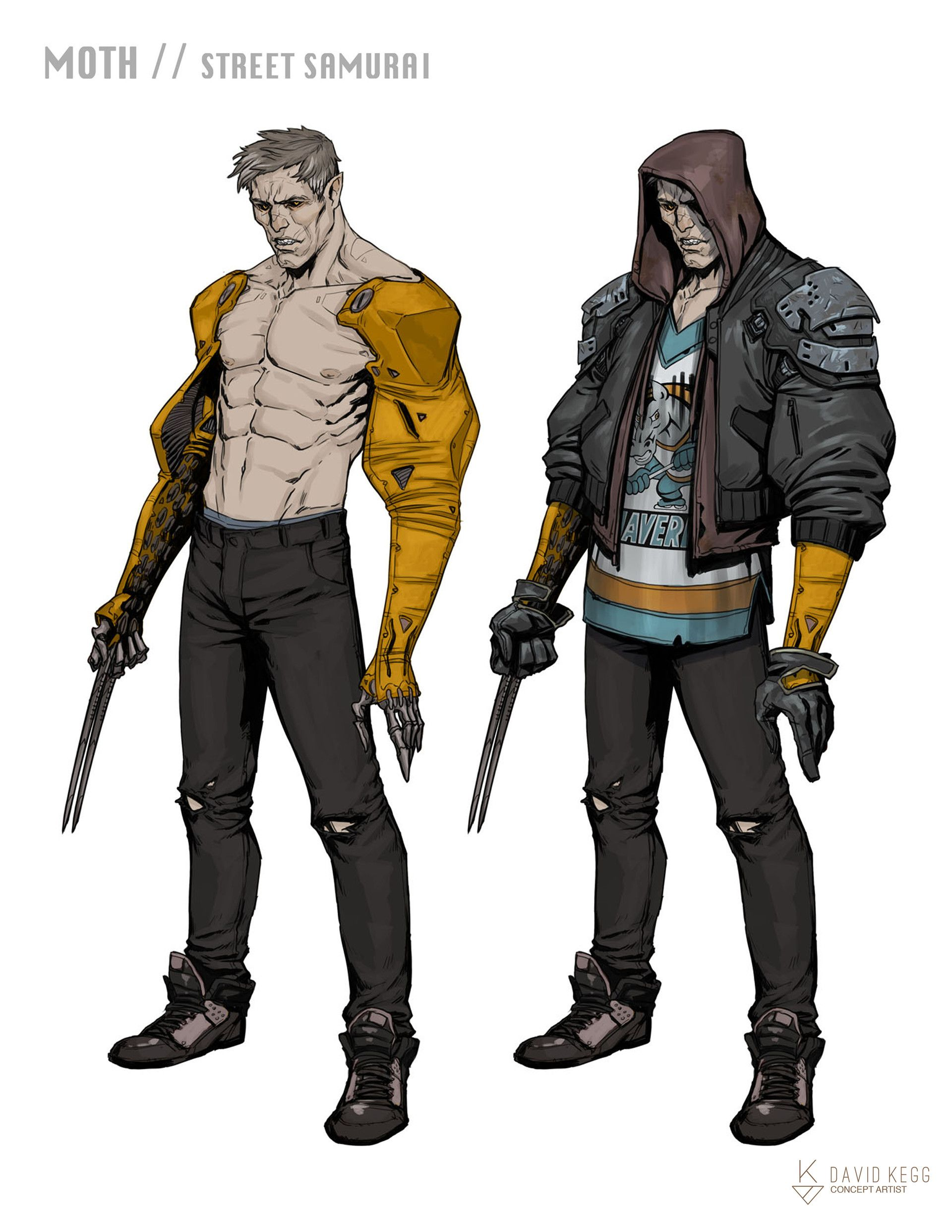 Character Design And Concept Art : Artstation rpg characters moth street samurai david
