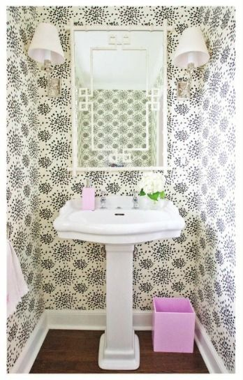A bright, happy powder room. Wallpaper explosion! (from grayslane.com)