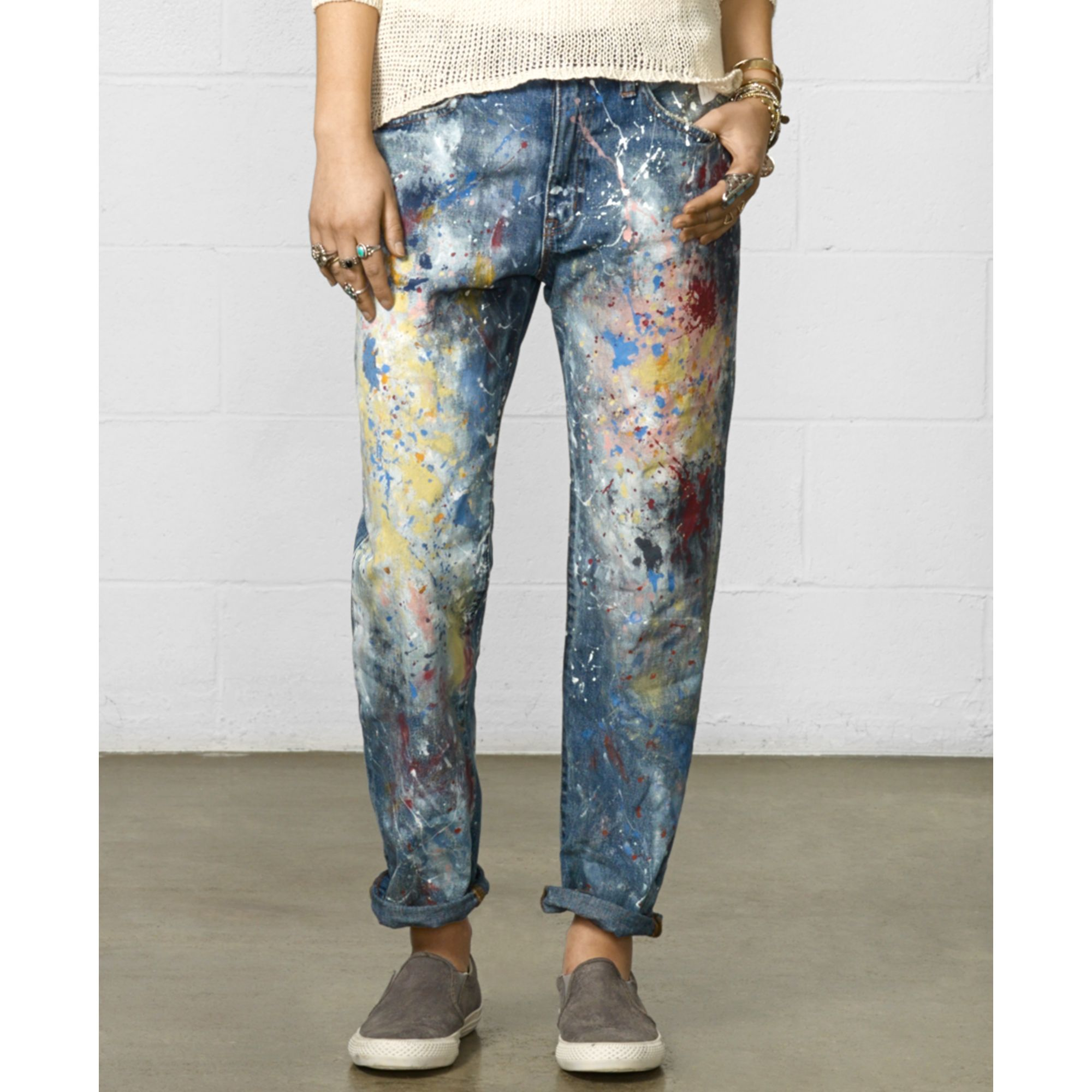 Denim & Supply Ralph Lauren Denim Supply Raph Lauren Paint Splatter  Boyfriend Jeans in Multicolor (