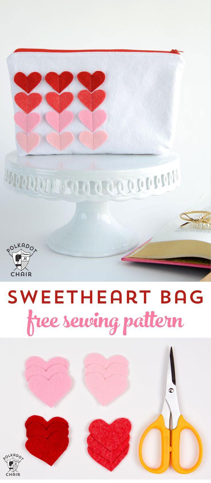 Sweet Heart Zip Pouch: Valentine\'s Day Sewing Projects | Walentynki ...