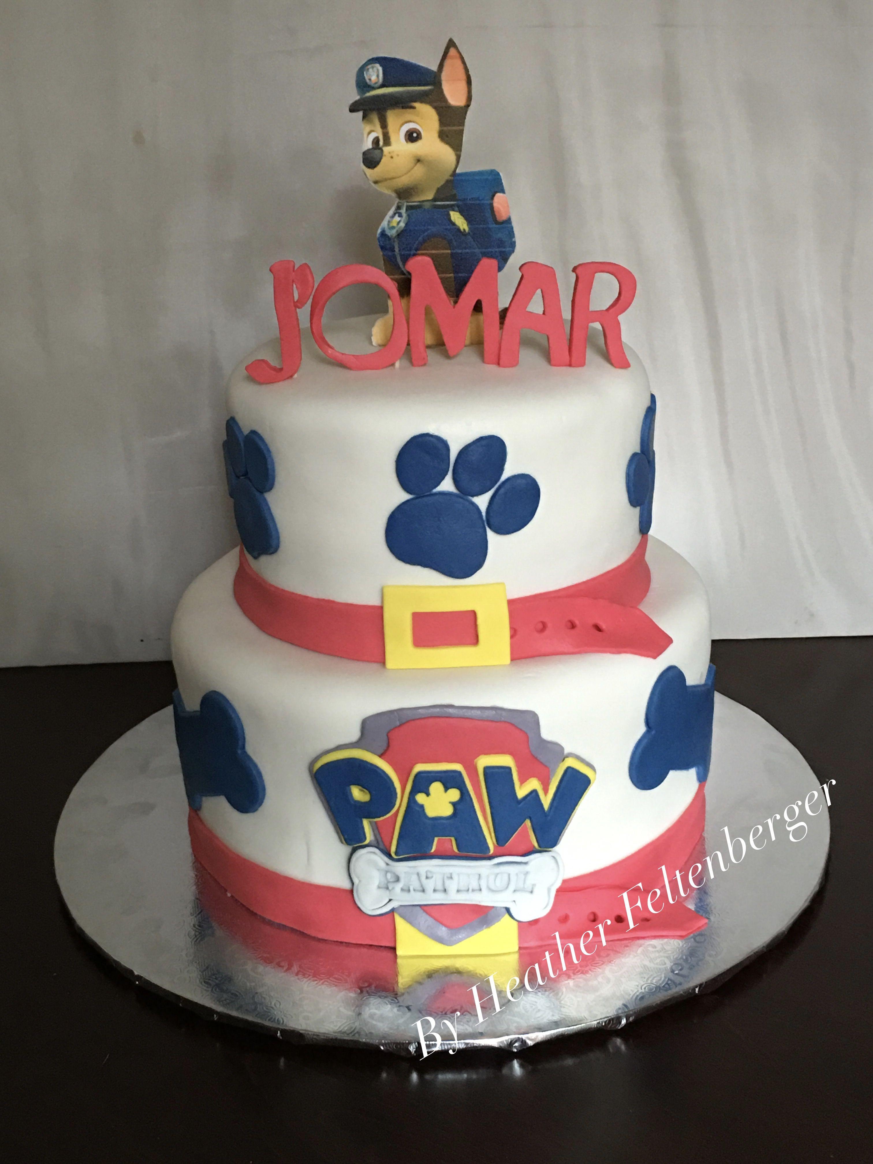 Paw Patrol Chase 2 Tier Birthday Cake