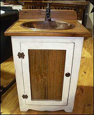 Country Pine Bathroom Vanity With Copper Sink And Bronze Faucet 25 Inches Wide Farm House Rp1385 Sc Antique White Cabinet