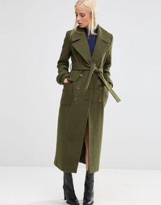 ASOS - Manteau mi-long en laine mélangée avec ceinture à nouer ... 130360562ea