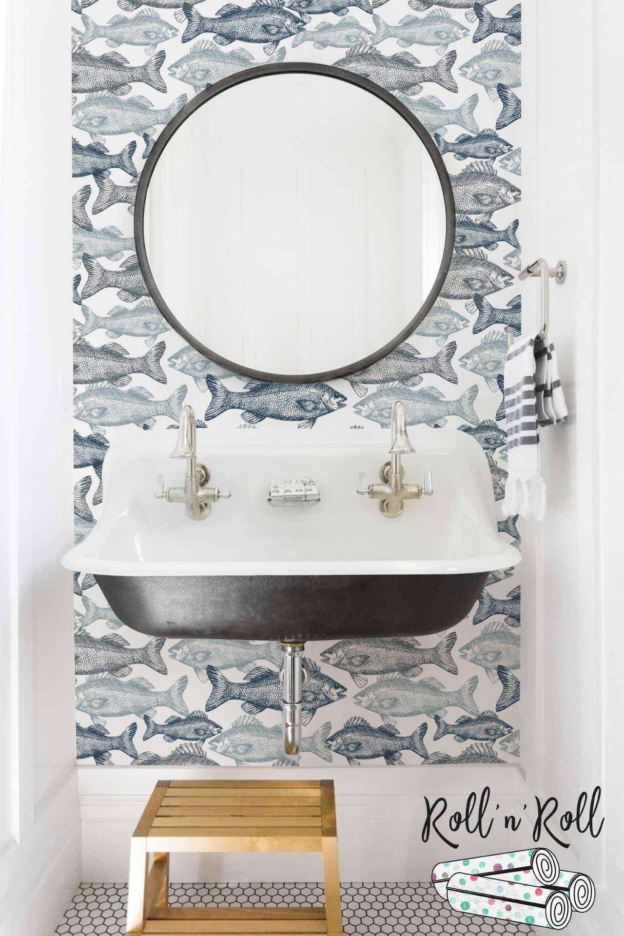 Sfondo Pesce Carta Da Parati Aqua Carta Da Parati Rimovibile Etsy Aqua Wallpaper Bathroom Wallpaper Removable Wallpaper