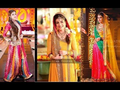 Mehndi Wedding Dresses 2016 : Latest pakistani designer mehndi dresses 2017 for brides fashion
