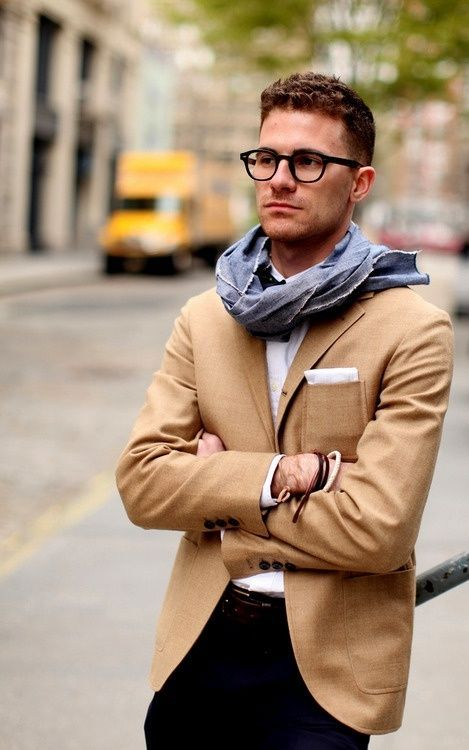 Men's Tan Blazer, White Long Sleeve Shirt, Navy Dress Pants, White ...