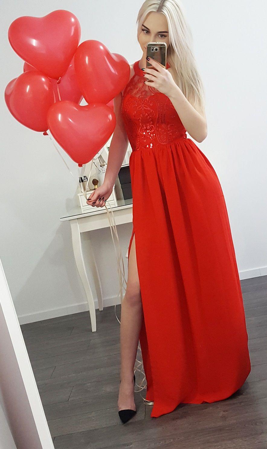 5abe88d9c5 Długa czerwona suknia Olivia. Piękna czerwona sukienka na wesele Suknie  Wieczorowe