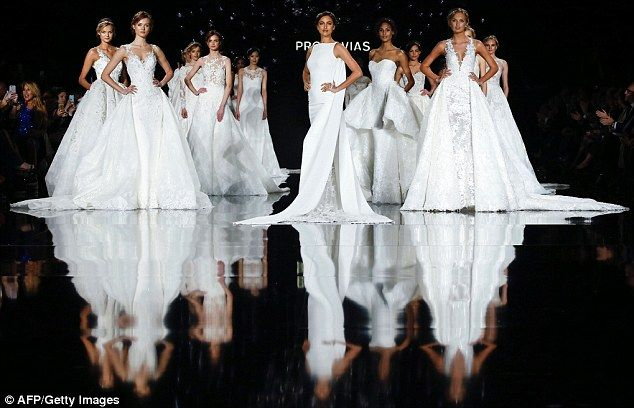 Beautiful brides: The stunning collection featured an array of couture gowns...