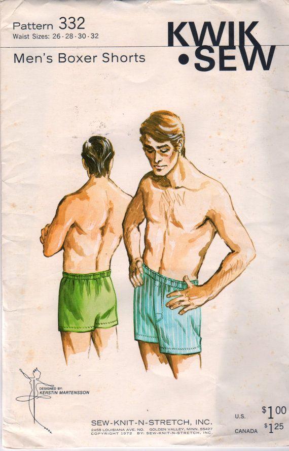 Kwik Sew 332 1970s Mens Boxer Shorts Pattern Adult Teen Vintage ...
