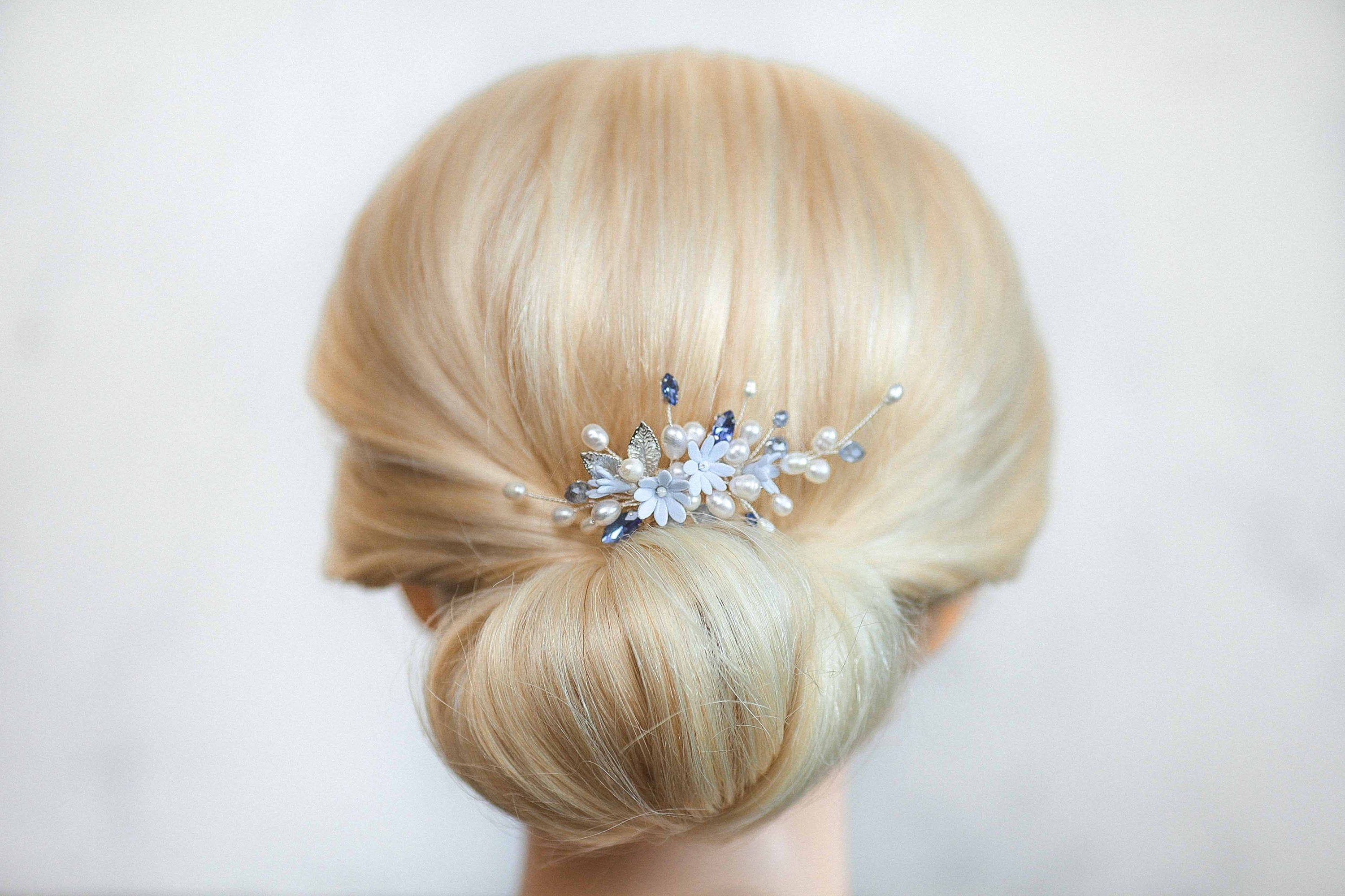Silver hair pin Forget me not head pin Pearl hair piece Something blue floral headpiece Sapphire hairpiece Light blue head piece with flower