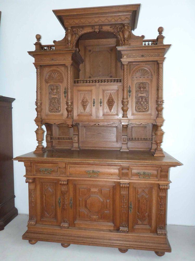 wundersch nes aufsatzbuffet gr nderzeit antiker gro er buffet schrank eiche antike m bel. Black Bedroom Furniture Sets. Home Design Ideas