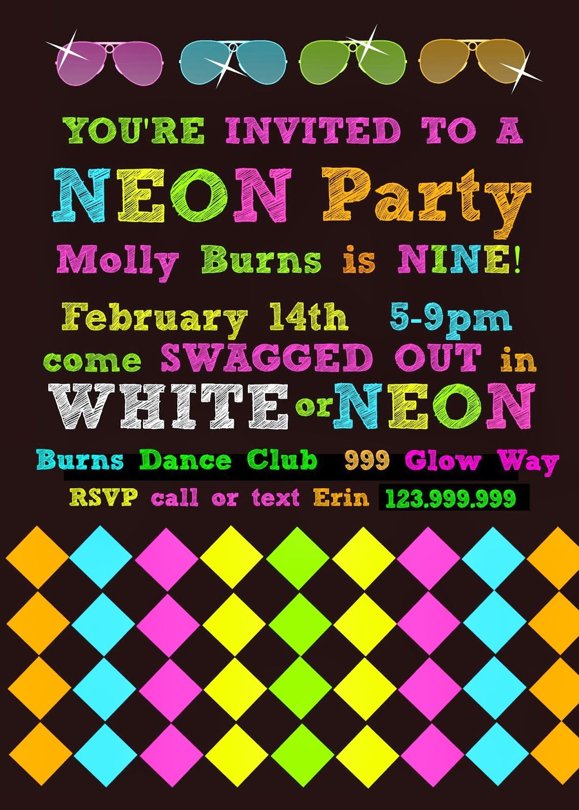 bringing up burns: molly's ninth neon/glow in the dark dance, Party invitations