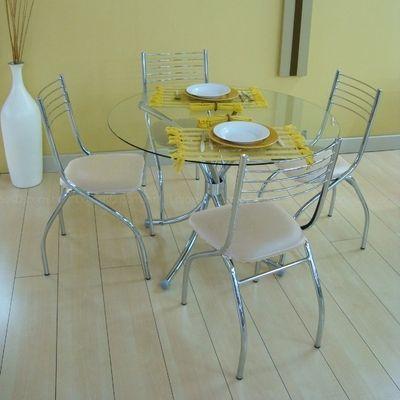 Conjunto de mesa com tampo de vidro e 4 cadeiras Branco - Carraro