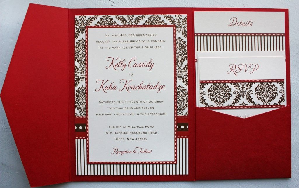 Red And Black Wedding Invitations Templates: Red & Brown Damask, Stripe & Dot Pocketfold Wedding