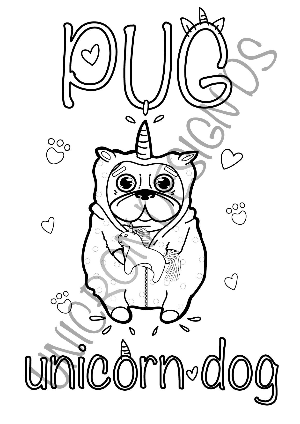 Printable Cute Pug Dog Animals Illustration Coloring Pages For Etsy Baby Coloring Pages Puppy Coloring Pages Unicorn Coloring Pages
