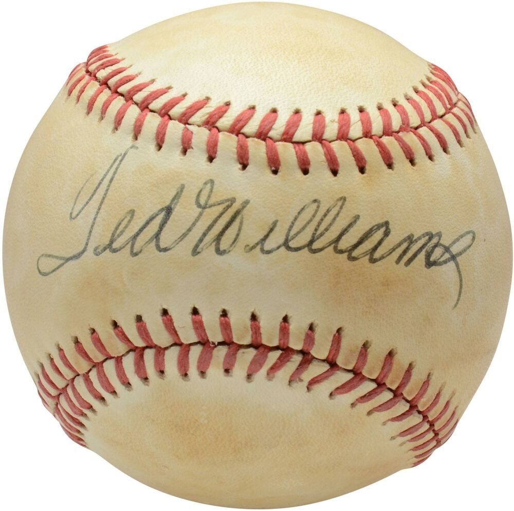 Ted Williams Boston Red Sox Autographed Vintage Toned Baseball Psa V14001 Sportsmemorabilia Autograph Baseball Ted Williams Boston Red Sox Red Sox