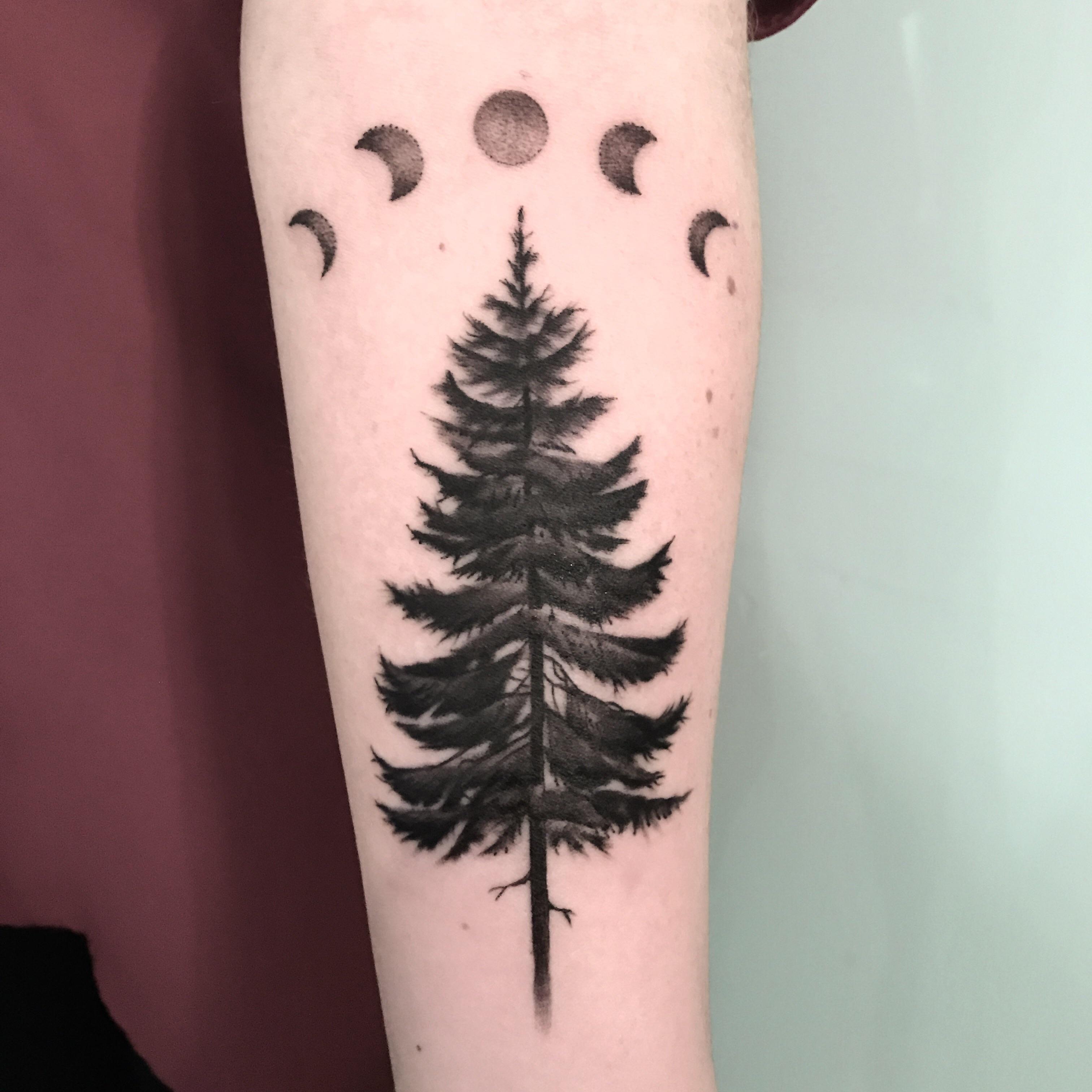 Pine tree tattoo by Ella at Wicked Good Ink Portland Maine | tats ...